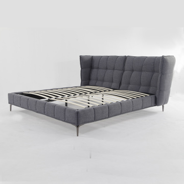 Stylish Fabric Upholstered Stainless Steel Bed