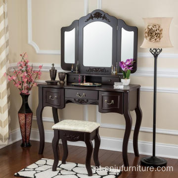 Black color Beauty Station Makeup Table Wooden Stool Set Mirrors with Organization Drawers