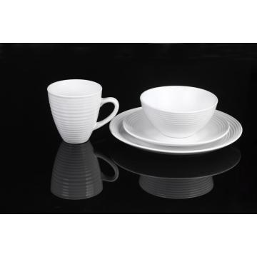 16 pieces stoneware embossed dinnerware set