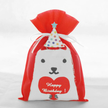 Red Birthday Drawstring Packaging Bag Cartoon Dog