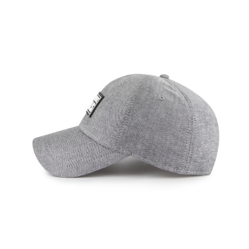 6-panel rubber weld patch chambray fabric baseball cap