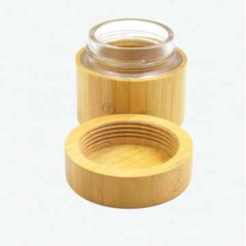 200g Environmental empty full cover bamboo cream jars with glass inner