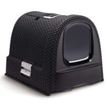 Dark-Grey Hooded Cat Litter Box