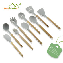 9PCS Silicone Kitchen Utensils With Beech Wood Handle