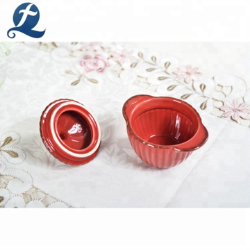 High quality cheap round shape colored cooking mini ceramic soup pot set with lid
