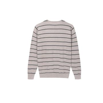 Men's Knitted Stripe Basic Crew-Neck Pullover