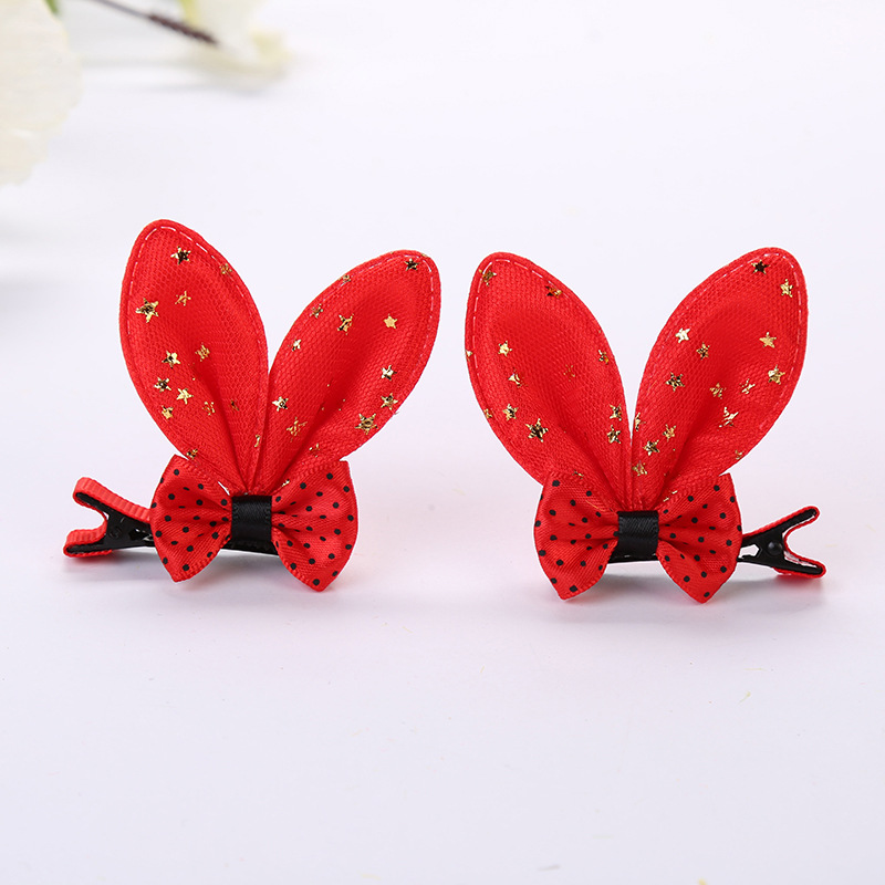 Bow tie rabbit ear hairpin rabbit ear clip (8)