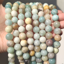 Wholesale Natural Stone Beads Colorful Amazonite Round Loose Beads For Jewelry Making DIY Bracelet 15'' Pick Size 4 6 8 10 12mm