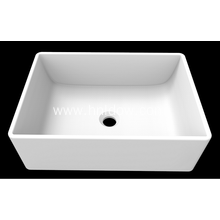 Matte white pure resin square basin for bathroom