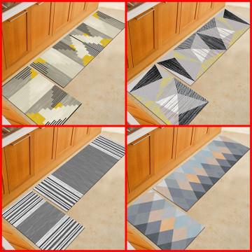 2PCS Carpet Anti Slip Bohemian Style Geometric Pattern Rug Home Rug for Living Room Kitchen Bedroom Floor Carpet Rug Set Decor
