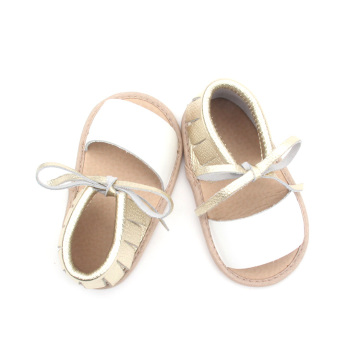 White Leather Golden Moccasins Baby Summer Sandals