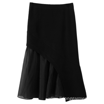 Wind With Tweed Fishtail Skirt Half-length Skirt