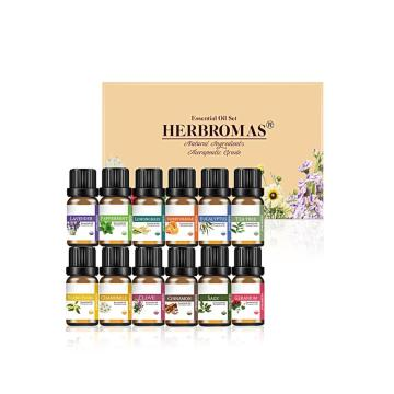 HERBROMAS -Natural Essential Oil Set 100% Pure Top 12 x10ml Gift Box for Aromatherapy Diffuser Humidifier Mist Hair Skin care