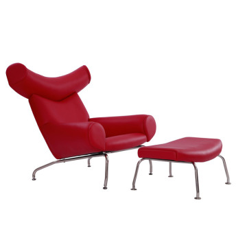 Hans Wegner Red Leather OX Lounge Chair Replica