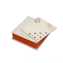 Wedding Card Box With White Orange&Golden Lotus Design