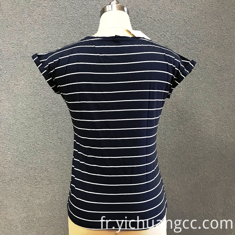 Women's cotton stripe knitted top
