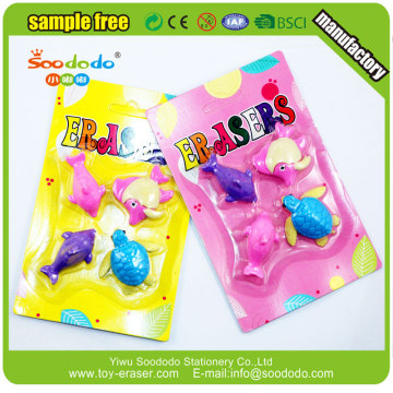 3D animal shape Rubber Eraser Set For Children