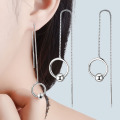 Stainless steel long chain drop earrings