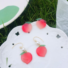 2020 New Cute Transparent Fruit Drop Earrings Lovely Peach Summer Holiday Earrings Unique Party Jewelry gifts