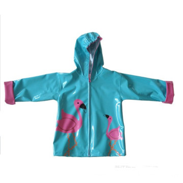 Baby Girls PU Rainwear Spring Flowers Raincoat Jacket