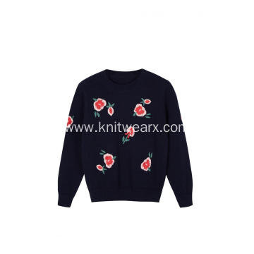 Girl's Knitted Floral Embroidery Crew-Neck Pullover