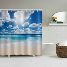 Sea Wave Beach Waterproof Shower Curtain Blue Ocean White Clouds Bathroom Decor Shower Curtain with Hooks