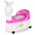 H8495 Rabbit Plastic Baby Potty Chair With Wheel