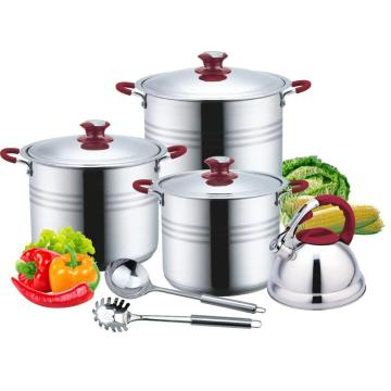 Soft touch 9pcs  metal stock pot