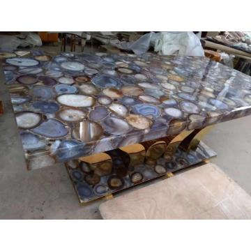 rectangle grey agate side table