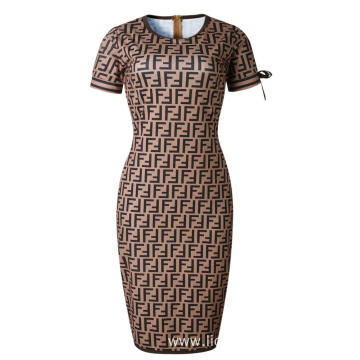 O-neck Women Casual Short Sleeve Lace Pencil Dress