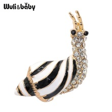 Wuli&baby Enamel Snail Brooches Women Alloy Rhinestone Lovely Snail Animal Casual Party Brooch Pins Gifts