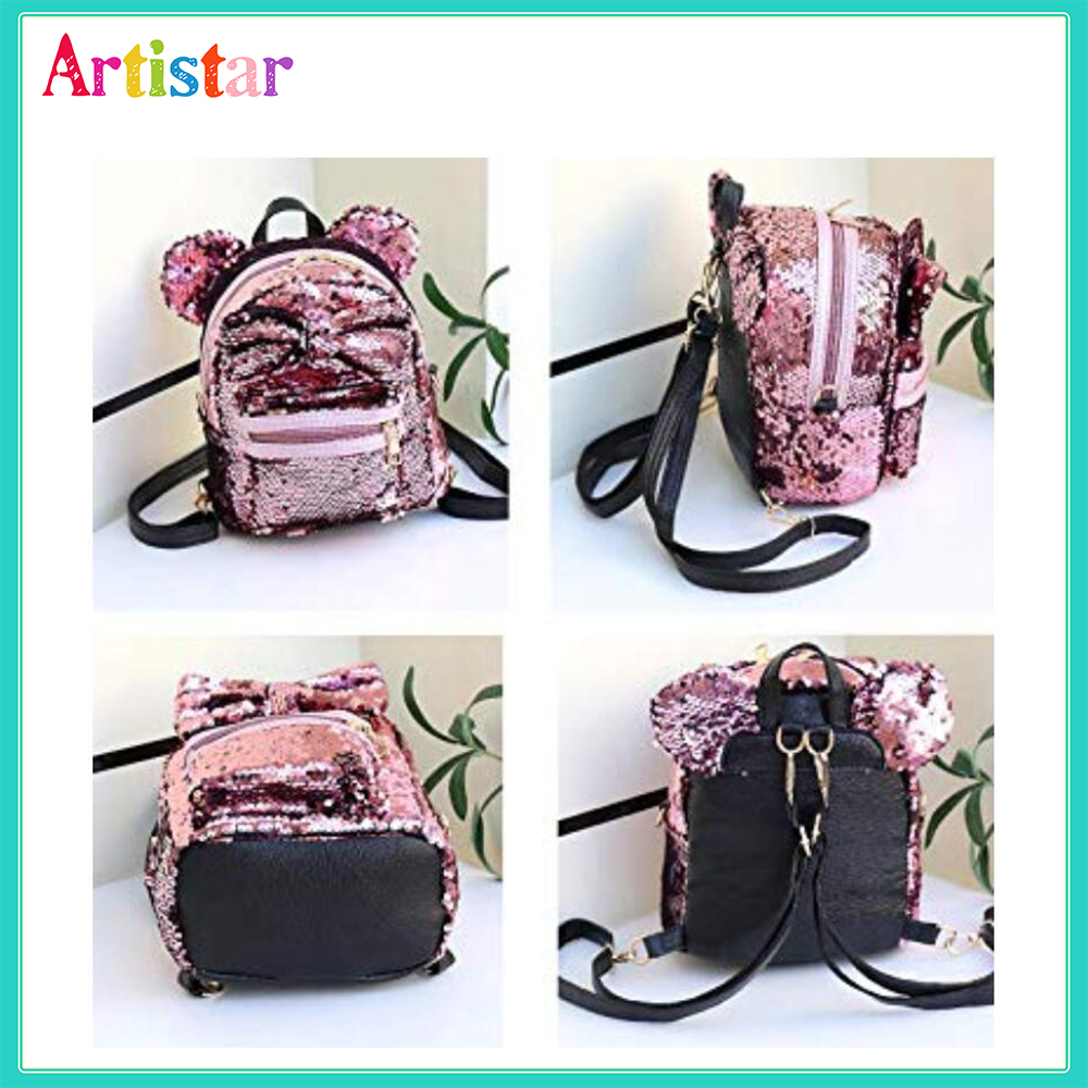 Ears Bowknot Sequins Backpack 16 2