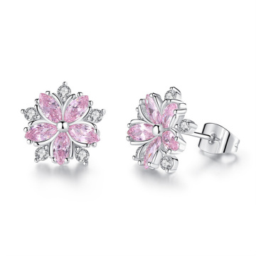 2020 Fashion Explosion Earrings Female Simple Temperament Small Fresh Cherry Blossom Earrings Ladies Fine Jewelry