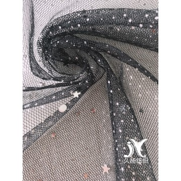 Silver Foil Star Sequin Mesh Fabric