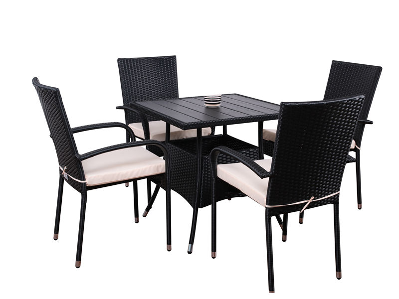 5pc steel rattan dining set S2808