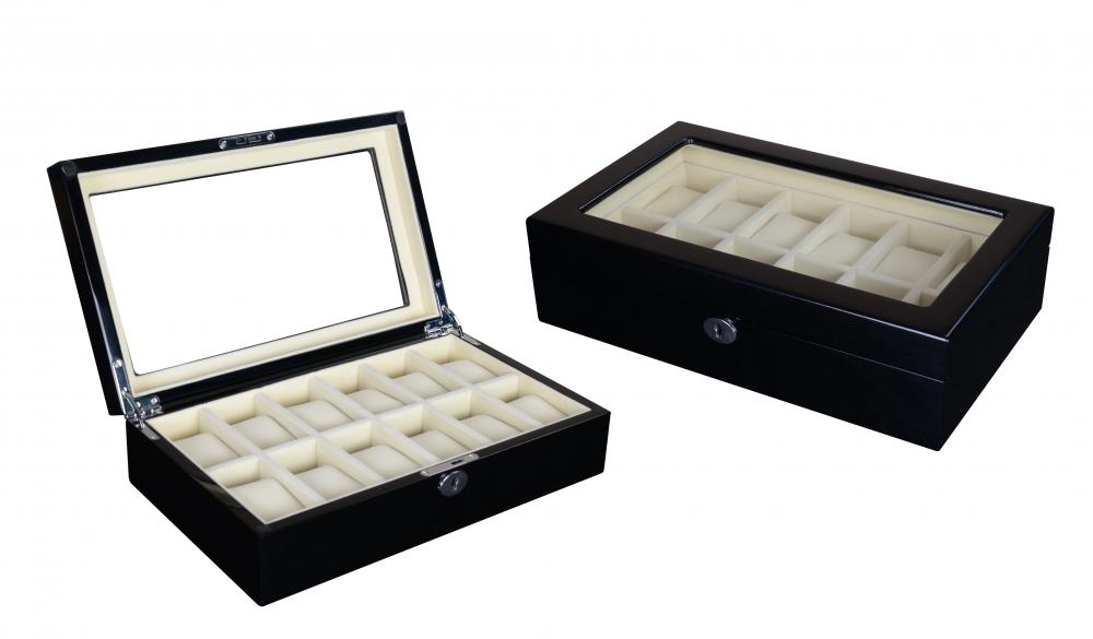 Wb 3095 Black Watch Box White Velvet Interior