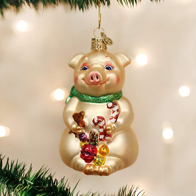 Christmas Pig Glass Ornament