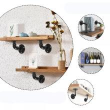 Decorative Pipe Wood Storage Wall Floating Shelf
