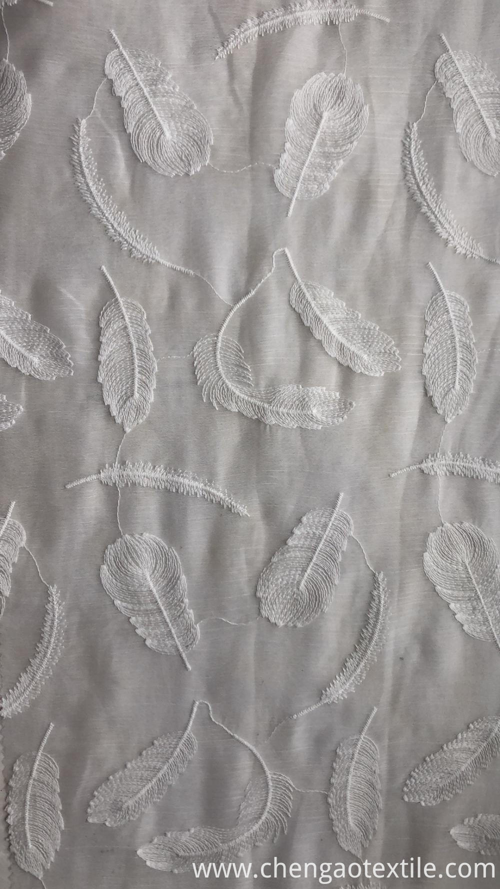 White feather Design Chiffon Embroider Fabric