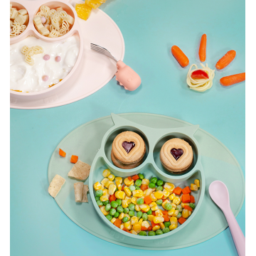BPA Free Owl Baby Silicone One-Piece Placemat Plate