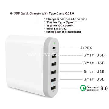 6USB Charger With Type C and QC 3.0