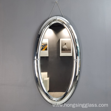 curved mirror oval shape clear hanging mirror