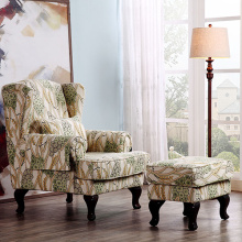 High Back Upholstered Wing Armchair With Footstool