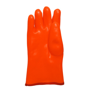 Fluorescent Orange.Smooth Finish Open Cuff  PVC Glove