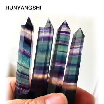 RUNYANGSHI Natural Fluorite Crystal Colorful Striped Fluorite Quartz Crystal Stone Point Healing Hexagonal Wand Treatment Stone