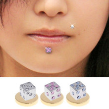 316L Jeweled Dice Magnetic Fake Labret