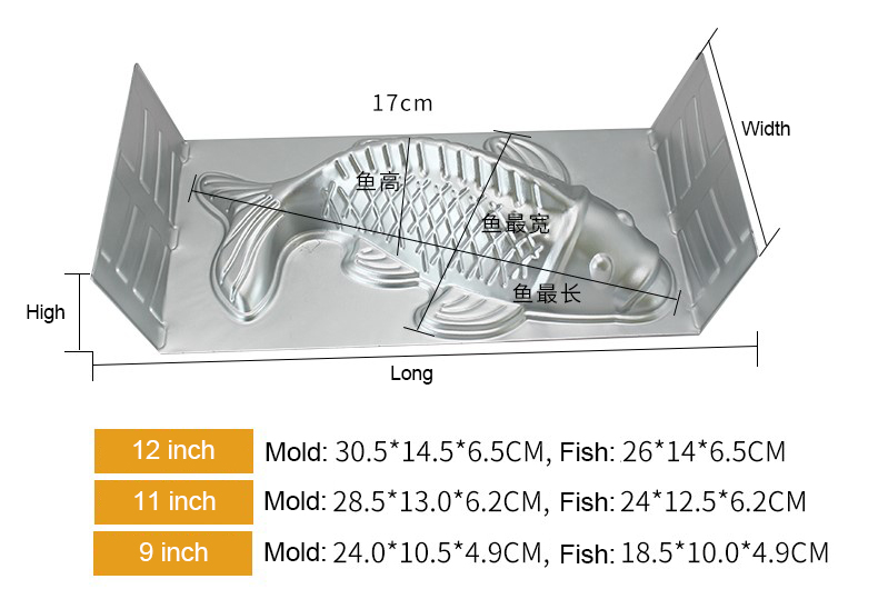 3D Fish Shape Aluminium Alloy Cake Pan06