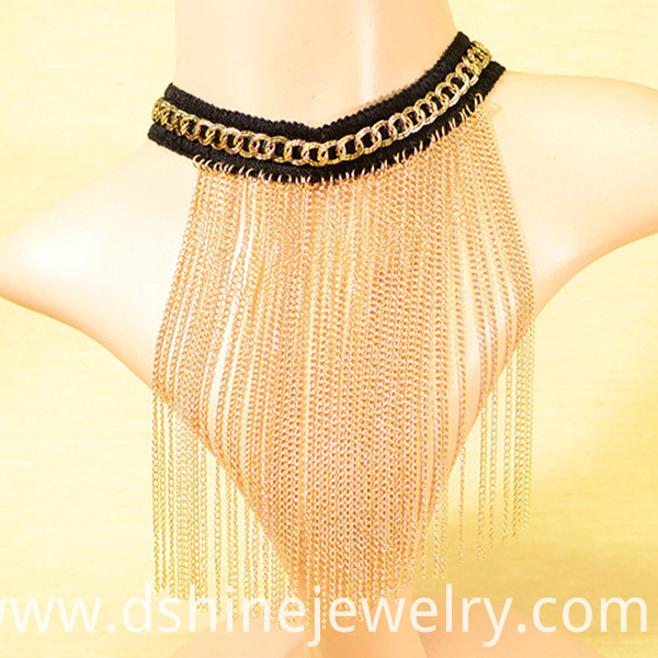 long Fringe necklace, fabric choker, choker necklace, collar necklace