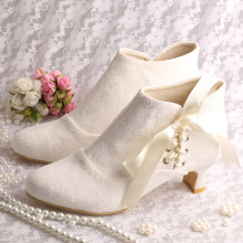 Custom Handmade White Ivory Lace Wedding Boots