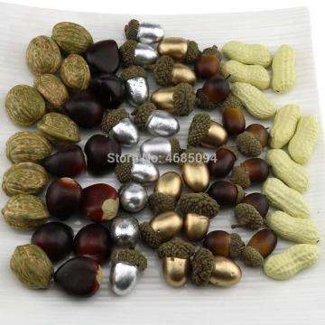 Gresorth 60 PCS Fake Nuts Artificial Acorn, Peanut, Walnut, Chestnut DIY Craft Home Decoration